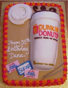 Dunkin Donuts Coffee  Dunkin Donuts Coffee A dunkin donuts coffee themed cake for a customer who is fanatical about her coffee.