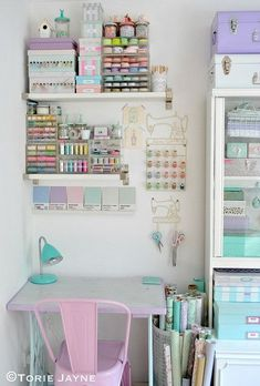 17 Insanely Clever Craft Room Storage Solutions - sara dear 17 Insanely Clever Craft Room Storage Solutions Torie Jaynes Sewing Desk - If you're in need of craft storage ideas for your craft room then this list is exactly what you need to read! Craft Room Storage, Craft Room Desk, Craft Organization, Organizing Ideas, Paper Storage, Desk Storage, Diy Desk, Office Storage, Makeup Storage