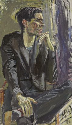 Alice Neel (American, 1900-1984), Robert Smithson, 1962. Oil on canvas, 42 x 24 in.  Robert Smithson (1938-1973), American sculptor and land artist.