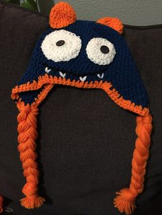 Crocheted monster hat by CraftyDiva23 on Etsy
