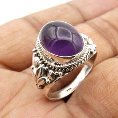 925 Sterling  Silver  Amethyst Ring  Handmade Jewelry  Ring Size us 8 #Unbranded #Cocktail