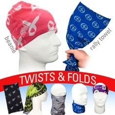Polyester microfiber multi-function rally wear Can be used as a Bandana, Wristband, Head Wrap, Scarf, Face Mask, Scull Cap, Hair Band, Scrunchie, Rally towel and much more Keeps you warm in the cold and cool in the heat