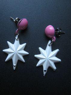 50s ATOMIC Stars Drop Style Earrings PINK 1950s by Flipsville