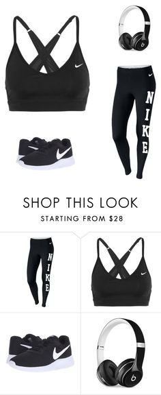 """""""Nike workout """" by lanajessica ❤ liked on Polyvore featuring NIKE and Beats by Dr. Dre"""