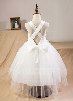 Ball Gown Straps Tea-length Bow(s) Satin Tulle Lace Flower Girl Dress Flower Girl Dress