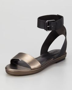 Abbey Ankle-Strap Sandal, Black/Lead by Vince at Neiman Marcus.