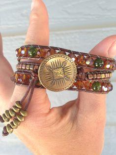 Triple Wrap Brass, Green and Auburn Bracelet by MountainModa on Etsy
