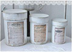Deko-Objekte - ♥hohes Dosen-Set ♥ shabby french - ein Designerstück von Villa-Vintage-Chic bei DaWanda