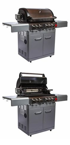 Swiss Grills, 304 stainless steel construction, 70,000 BTUs, 4 stainless steel tube burners, 497 sq. in. burning area, with an included infrared side burner | Icon Series 4 Burner Stainless Steel Grill - Side Burner