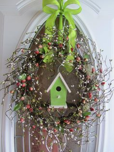 Spring Wreath - Birdhouse Wreath - Berry Wreath - Door Decor. $62.95, via Etsy.