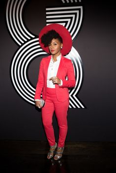 Janelle Monae in Giorgio Armani at the 2015 Grammys After Party.  [Photo by Katie Jones]