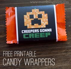 Free Printable Minecraft Halloween Wrappers. Turn boring normal candy into something kids will love!