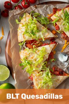 BLT Quesadillas made with Rotel Diced Tomatoes, are the way to go for any family dinner, on any day of the week! Veggie Recipes, Lunch Recipes, Mexican Food Recipes, Diet Recipes, Chicken Recipes, Cooking Recipes, Healthy Recipes, Cooking Videos, Slow Cooking