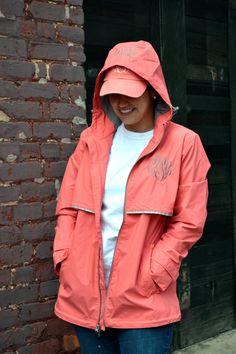CORAL Monogrammed Rain Jacket -Womens - Personalized - Adult Sizes. via Etsy.