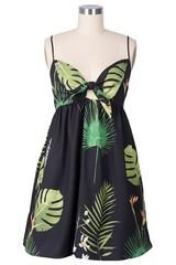 Cupshe Tropical Wind Leaves Slip Mini Dress - L