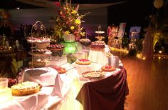 Wedding food table set-up idea from wedding at the Hubbard Ballroom, Ford Community & Performing Arts Center, Dearborn, MI!