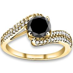 1.83 ctw 14k YG AAA Black, Accent H-I Color, SI Clarity Diamonds Engagement Rings #diamondrings #loosediamondrings #engagementrings @pricepointshop