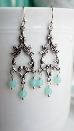 Earrings Victorian silver and mint chandelier by VerdigrisGifts