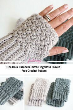One Hour Elizabeth Stitch Fingerless Gloves [Free Pattern] - Knit And Crochet Daily - Crochet wrist warmers - Tunisian Crochet, Free Crochet, Knit Crochet, Crochet Crafts, Crochet Projects, Crochet Ideas, Crochet Fingerless Gloves Free Pattern, Fingerless Mittens, Crochet Hand Warmers