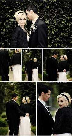 Chanel Themed Wedding - I love the idea of wearing a tailored jacket over the wedding dress. It's rocker chic.