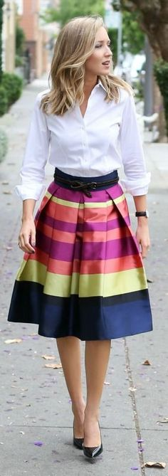 bright striped midi skirt, classic white dress shirt, black pointy toe pumps, braided belt + watch {anthropologie, brooks brothers, sjp collection, gap, daniel wellington}