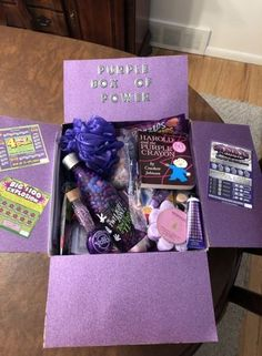 March was National Purple Day! Sent a care package to my college student wi… March was National Purple Day! Sent a care package to my college student with everything PURPLE. Birthday Presents For Friends, Cute Birthday Gift, Happy Birthday Gifts, Friend Birthday Gifts, Birthday Diy, Diy Best Friend Gifts, Bff Gifts, Cute Gifts, Sister Gifts