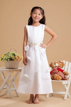 Sexy White Satin Flower Girl Dress - Order Link: http://www.theweddingdresses.com/sexy-white-satin-flower-girl-dress-twdn1118.html - Embellishments: Bowknot , Flower , Sash; Length: Floor Length; Fabric: Satin; Waist: Natural - Price: 69.77USD