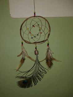 Feathers: Peacock/Owl Colors: brown/red/black/green/yellow Branch of blackberry #DreamCatcher