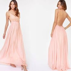 Open back dress, should fit sizes small-large Light peachy pink, crotchet detailing, ruffled waist, open back, long to the floor, never worn, selling because color doesn't suit my skin tone. Make me an offer, do not purchase yet. I will take $75 nothing less Lulu's Dresses Backless