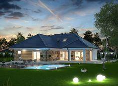 DOM.PL™ - Projekt domu ARP PADME CE - DOM AP2-07 - gotowy koszt budowy House Plans Mansion, Family House Plans, Bedroom House Plans, Dream House Plans, House Roof, Village House Design, Kerala House Design, Bungalow House Design, Modern Bungalow House Plans