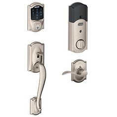Schlage Connect Camelot Touchscreen Deadbolt with Built-In Alarm and Handleset Grip with Accent Lever, Satin Nickel, FE469NX ACC 619 CAM RH Schlage Lock Company