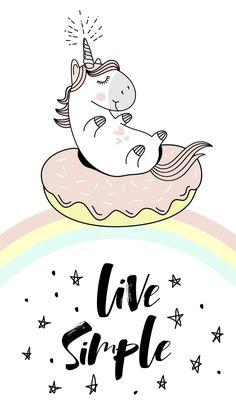 Unicorn sitting on huge donut over a rainbow