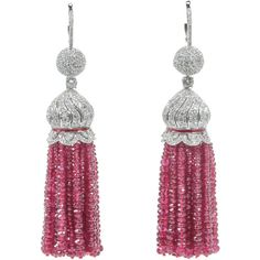 Preowned Two Hundred Carat Burma Ruby Beads Diamond Tassel Earrings ($34,000) ❤ liked on Polyvore featuring jewelry, earrings, multiple, 18k jewelry, diamond earrings, beaded earrings, beading earrings and tassel earrings