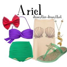 "I LOVE it. ""Ariel"" by disneythis-disneythat on Polyvore #Disney #Ariel #bathingsuit #swimwear"