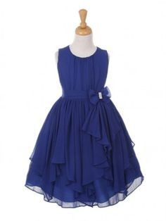 Royal Blue Yoryu Chiffon Asymmetric Ruffled Flower Girl Dress (Sizes 4-14 in 13 colors)
