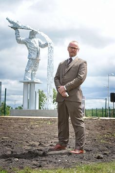 Andy Scott with his Steelman at the site of the former Ravenscraig, Motherwell, Scotland.