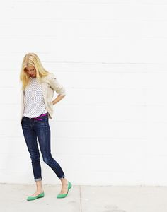 the perfect casual work outfit : blazer, polka dots, jeans and ballet flats with unexpected pops of color