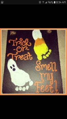 Halloween diy  footprint decoration canvas