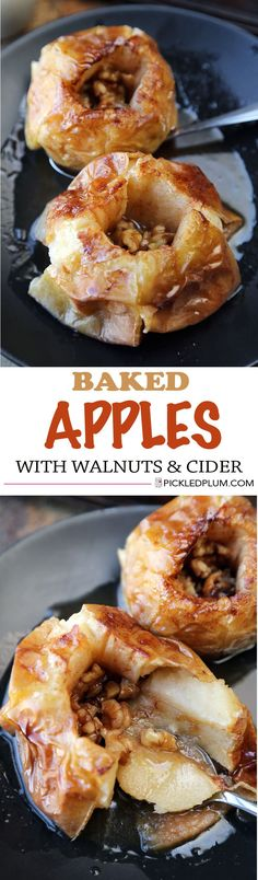 Healthy and Gluten-Free Recipe: Baked Apples with Walnuts and Cider http://www.pickledplum.com/baked-apples-walnuts-recipe/