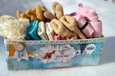 Agnieszka Bellaidea created this adorable box to store her families winter mittens in. Love how she used the Woodland Winter collection. #BoBunny, @Agnieszka Bellaidea
