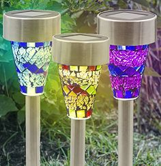 Solar Lights OutdoorSogrand Garden Pathway Light Bight 8 Lumen 3 Color Mosaic Lampshade White LED Stainless Steel Landscape Lighting for Path Walkway Driveway Patio Yard Pack of 3 >>> Continue to the product at the image link. Note: It's an affiliate link to Amazon