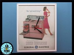 General Electric Stove Clock 1950s Vintage Mid Century by ADnTIME Vintage Advertisements, Vintage Ads, Electric Stove, Kitchen Stove, General Electric, Retro Home, Vintage Kitchen, 1950s, The Past
