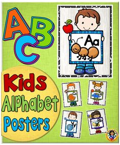 A set of colorful alphabet posters featuring kids