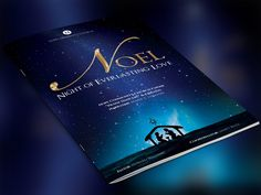 Noel Christmas Brochure Template is for Christmas programs used for pageants, plays, musicals and cantatas. Great for other programs during the Christmas celebration season. Made specifically for the Noel Christmas Cantata. Designed with a royal blue and gold theme showcasing a starry sky and a nati