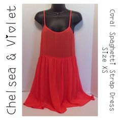 Chelsea & Violet Coral Spaghetti Strap Dress - XS Dry Clean. Shell: 100% Cottton. Lining: 100% Polyester.  Made in China.  Happy Poshing! Chelsea & Violet Dresses Mini