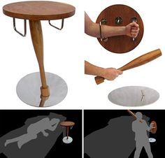 Designed with security-conscious Londoners in mind, the Self-Defense Table provides a way to defend yourself and fight back if you are ever confronted in your home.  The tabletop becomes a shield, and the support becomes a bludgeoning object.  If you have to have a self-defense weapon in your home, this table seems like a safe and functional choice.