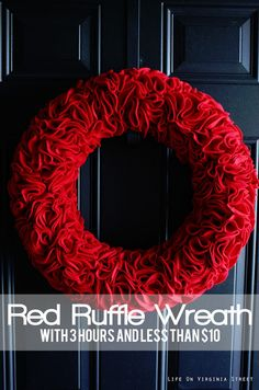 Learn the quick and easy way to make a gorgeous felt ruffle wreath. The design works well for all seasons - simply change your color of felt for a new look!