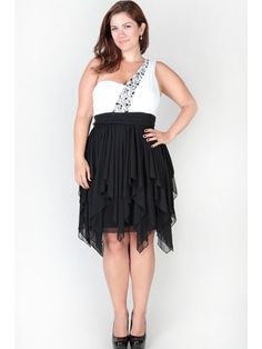 6de941b4a29 Plus Size High Low Dress With One Shoulder And Stone Trim Chiffon Bicolor
