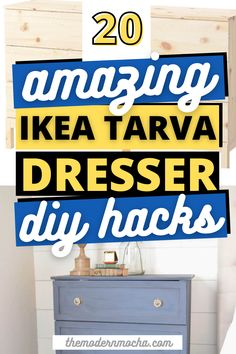 Here is the perfect IKEA TARVA dresser hack for any room. This post has the best IKEA TARVA hacks, both the nightstand and dresser, for your next DIY furniture makeover project. These IKEA furniture hacks are perfect for your bedroom, living room and kitchen. Save this for the best IKEA hacks and home décor ideas! #ikeahacks #tarva #ikeatarva #ikeadresser #ikeanightstand Ikea Nightstand, Ikea Tarva Dresser, Ikea Furniture Hacks, Furniture Makeover, Hacks Diy, Ikea Hacks, Ikea Inspiration, Best Ikea, Décor Ideas