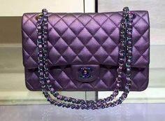 CHANEL Iridescent Purple Classic Flap Bag Cruise 2016